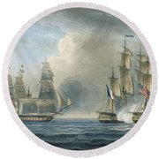 Capture Of The Pomone By Hms Arethusa Round Beach Towel