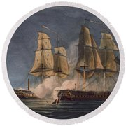 Capture Of The Thetis By Hms Amethyst Round Beach Towel