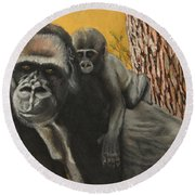 Round Beach Towel featuring the painting Captured Bernigie by Jeanne Fischer