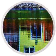 New England Landscape Illusion Round Beach Towel