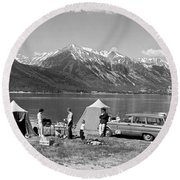 Car Camping In The Rockies Round Beach Towel