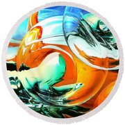 Car Fandango - Abstract Art Round Beach Towel by Art America Gallery Peter Potter