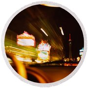 Car On A Road At Night, Las Vegas Round Beach Towel