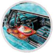 Vehicles Round Beach Towel featuring the photograph Car Side  by Aaron Berg