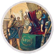 Round Beach Towel featuring the photograph Caractacus Before Emperor Claudius, 1st by British Library