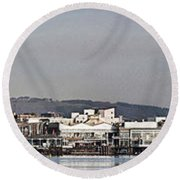 Cardiff Bay Panorama 2 Round Beach Towel by Steve Purnell