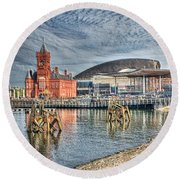 Cardiff Bay Textured Round Beach Towel by Steve Purnell
