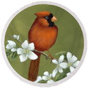 Cardinal And Dogwood Round Beach Towel