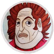 Round Beach Towel featuring the painting Serious Cardinal by Don Pedro De Gracia