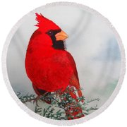 Round Beach Towel featuring the painting Cardinal by Laurel Best