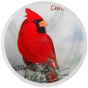 Cardinal Merry Christmas Round Beach Towel