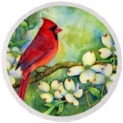 Cardinal On Dogwood Round Beach Towel