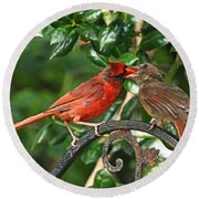 Cardinal Bird Valentines Love  Round Beach Towel