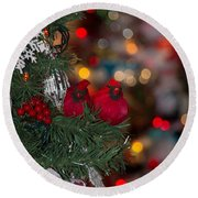 Round Beach Towel featuring the photograph Cardinals At Christmas by Patricia Babbitt