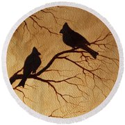 Round Beach Towel featuring the painting Cardinals Silhouettes Coffee Painting by Georgeta  Blanaru