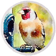 Carduelis Carduelis 'waterfinch' Round Beach Towel