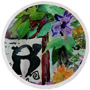 Round Beach Towel featuring the painting Carefree by Beverley Harper Tinsley