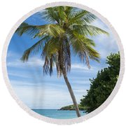 Round Beach Towel featuring the photograph Caribbean Blues by Betty LaRue