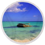 Round Beach Towel featuring the photograph Caribbean Colors  by Eti Reid
