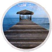 Caribbean Dock Round Beach Towel