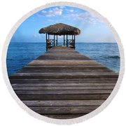 Caribbean Dock Round Beach Towel