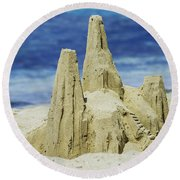 Round Beach Towel featuring the photograph Caribbean Sand Castle  by Betty LaRue