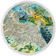 Beautiful Sea Turtle Round Beach Towel