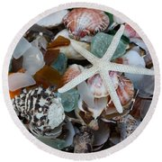 Caribbean Shells Round Beach Towel