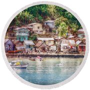Caribbean Village Round Beach Towel by Hanny Heim