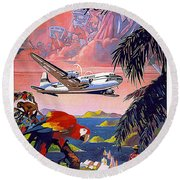 Caribbean Vintage Travel Poster Round Beach Towel