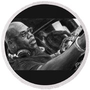 Carl Cox Pencil Drawing Round Beach Towel