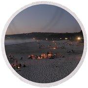 Carmel Beach Bonfires Round Beach Towel
