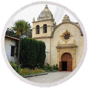 Carmel Mission Church Round Beach Towel