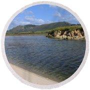 Carmel River Lagoon Round Beach Towel