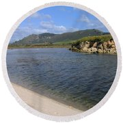 Carmel River Lagoon Round Beach Towel by James B Toy