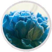 Carnation In Blue Round Beach Towel