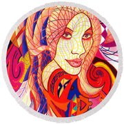 Carnival Girl Round Beach Towel