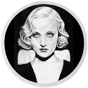 Carole Lombard Round Beach Towel by Fred Larucci