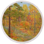Carolina Autumn Gold Round Beach Towel