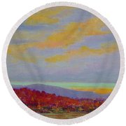 Carolina Autumn Sunset Round Beach Towel