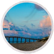 Carolina Blue Over Kure Beach Round Beach Towel by Mary Ward