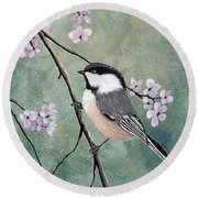 Carolina Chickadee Round Beach Towel