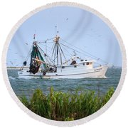 Carolina Girls Shrimp Boat Round Beach Towel