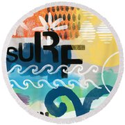 Carousel #7 Surf - Contemporary Abstract Art Round Beach Towel by Linda Woods