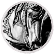 Carousel Horse Two - Bw Round Beach Towel