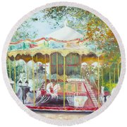 Carousel In Montmartre Paris Round Beach Towel