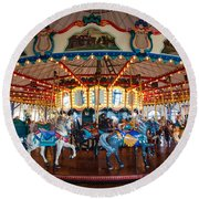 Round Beach Towel featuring the photograph Carousel Ride by Jerry Cowart
