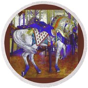Carousel Steed Round Beach Towel