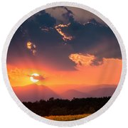 Carpathian Sunset Round Beach Towel by Mihai Andritoiu