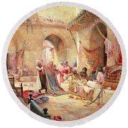 Carpet Bazaar, Cairo, 1887 Round Beach Towel